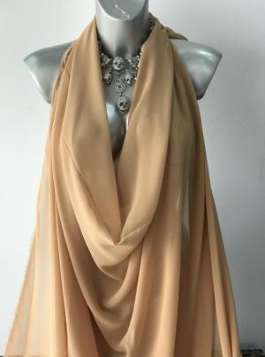 beige polyester chiffon