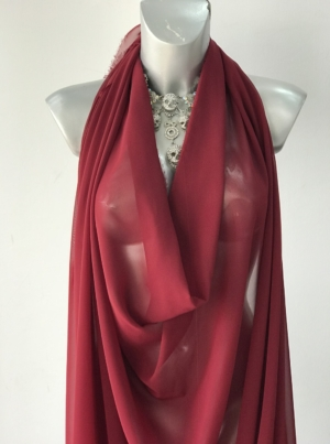 burgundy red polyester chiffon