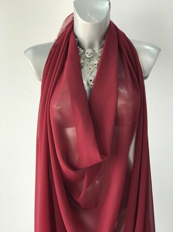 burgundy red polyester chiffon