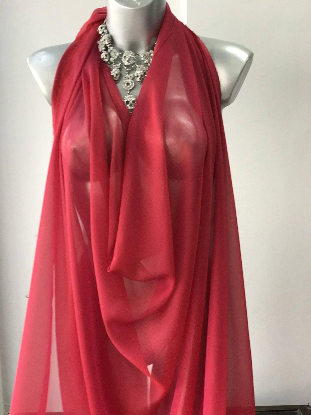 red silk chiffon fabric