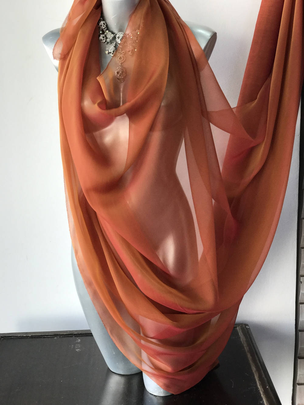 orange rusett chiffon