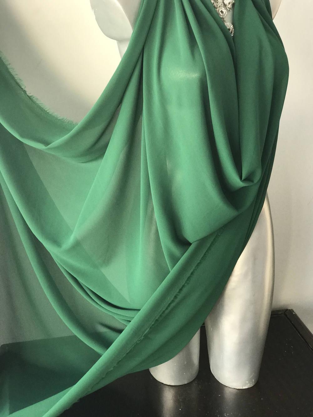 Green Emerald Polyester Chiffon Fabric Pebble Chiffon