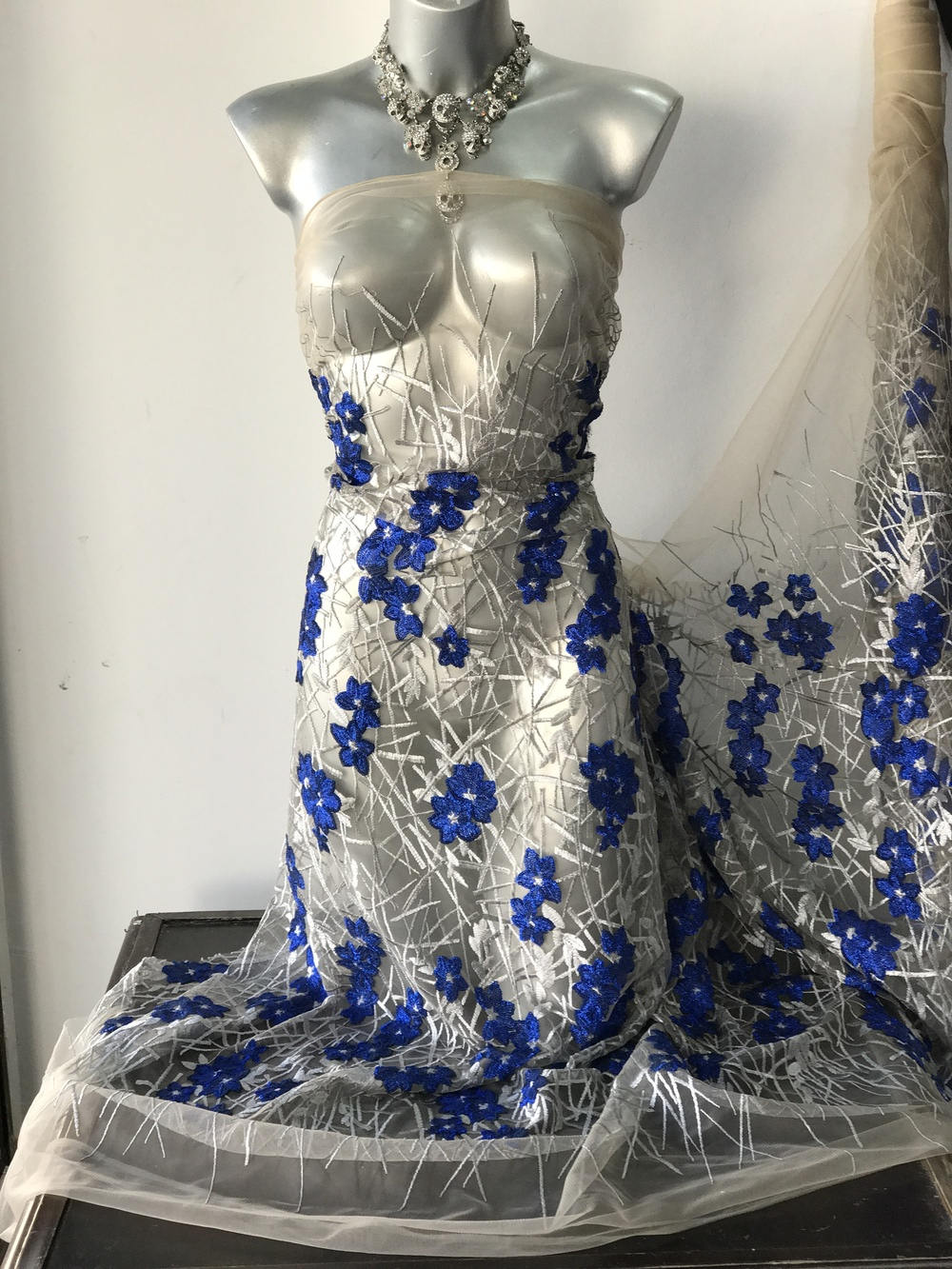 Silver Cobalt Blue Embroidered Lace Fabric Bridal Mother