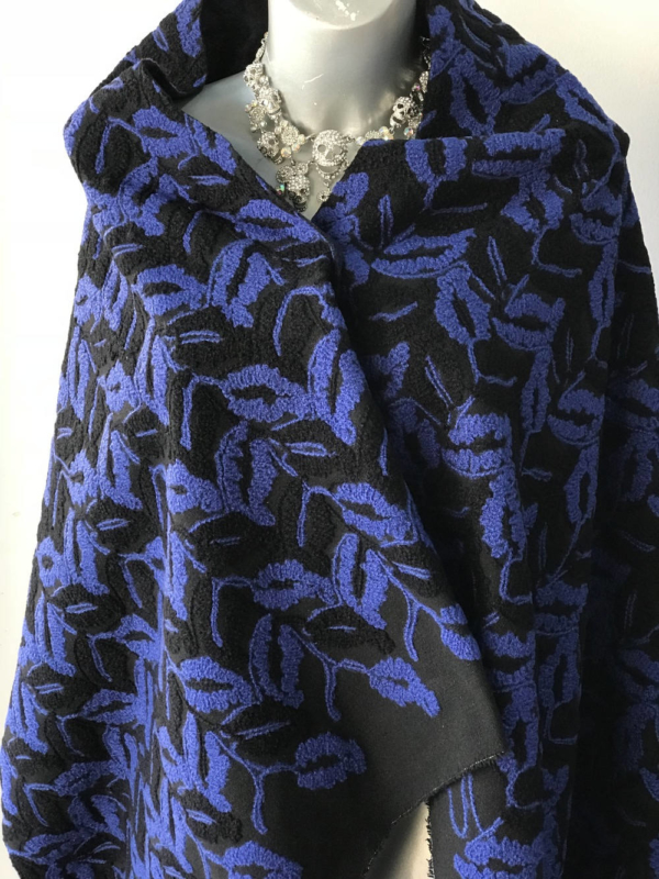 blue on black fancy wool