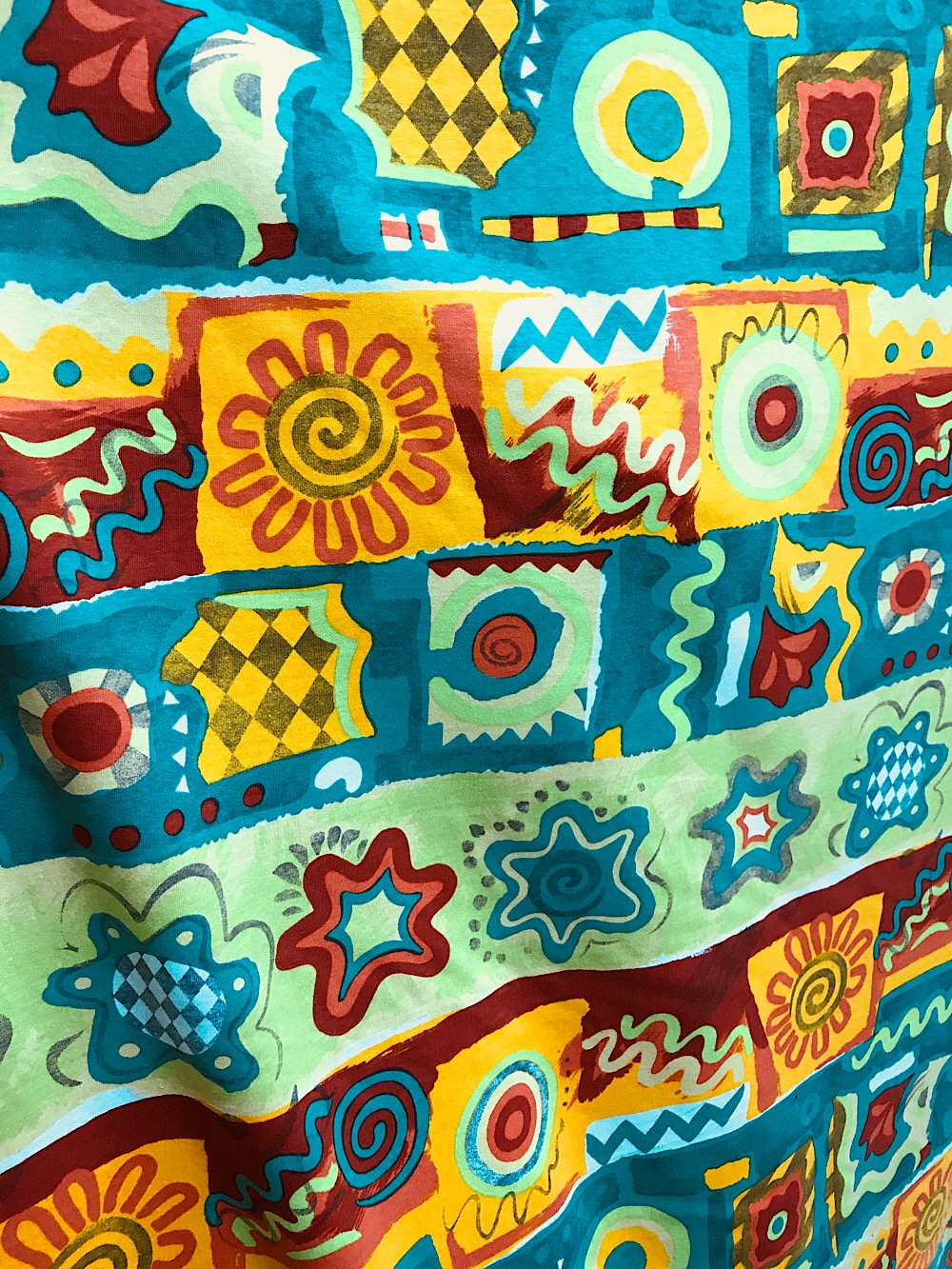 Cotton jersey fabric for childrens wear abstract print for Knit fabric childrens prints