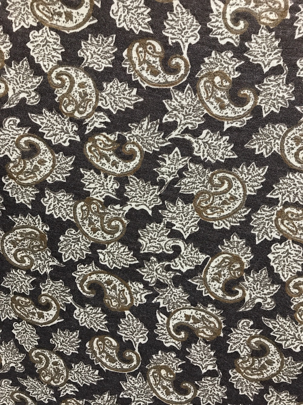 a7d0240573e Jersey Polyester knit fabric for dressmaking paisley design brown ...