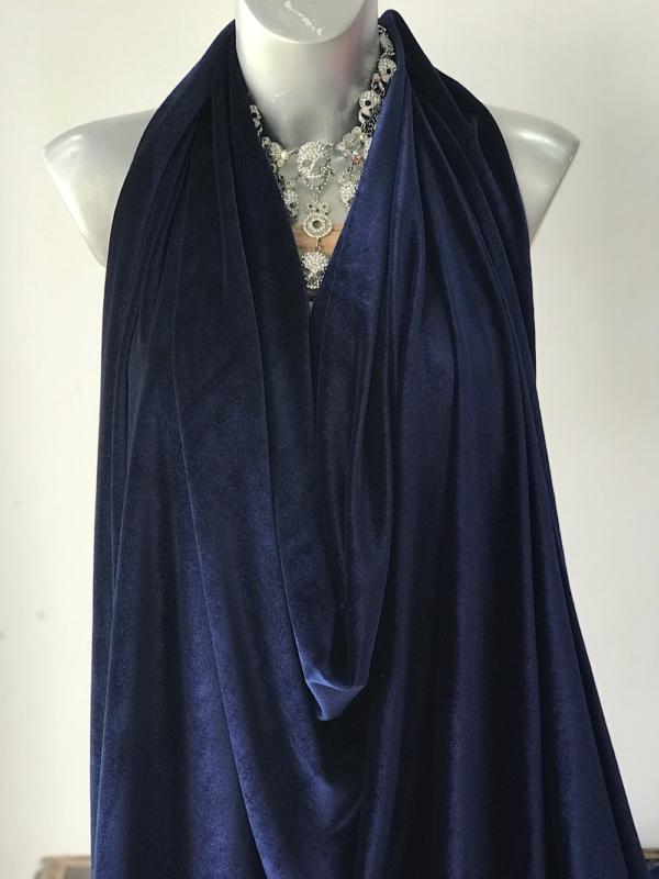 blue stretch velvet