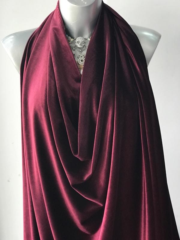 maroon red stretch velvet