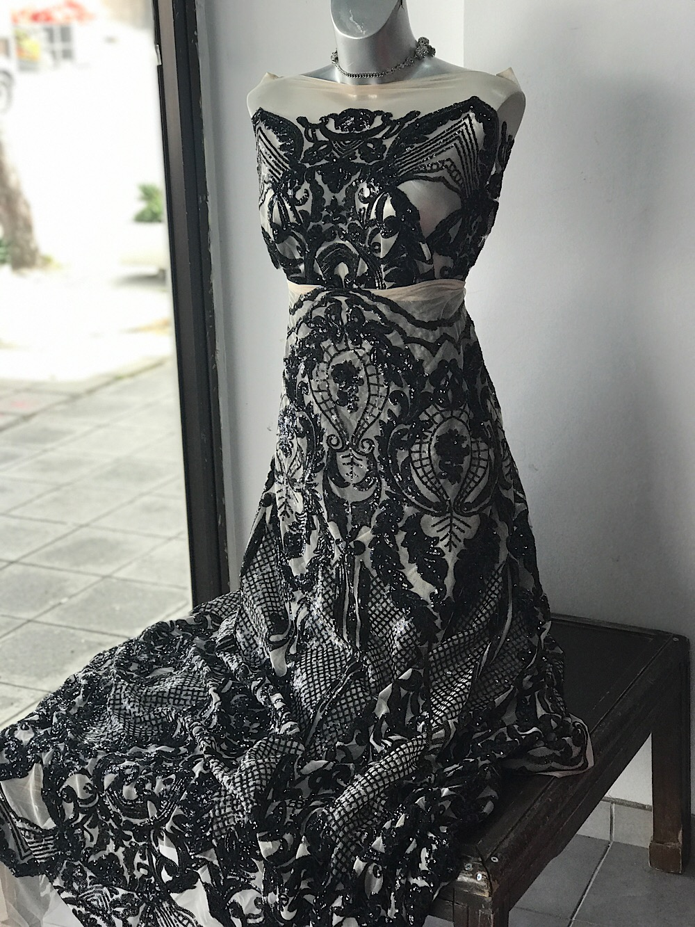 black sequins lace