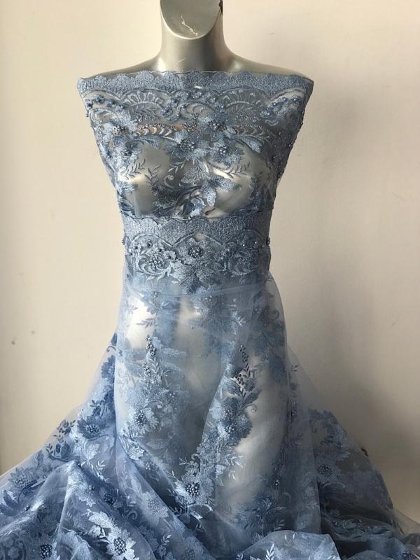 blue sky blue beaded lace fabric
