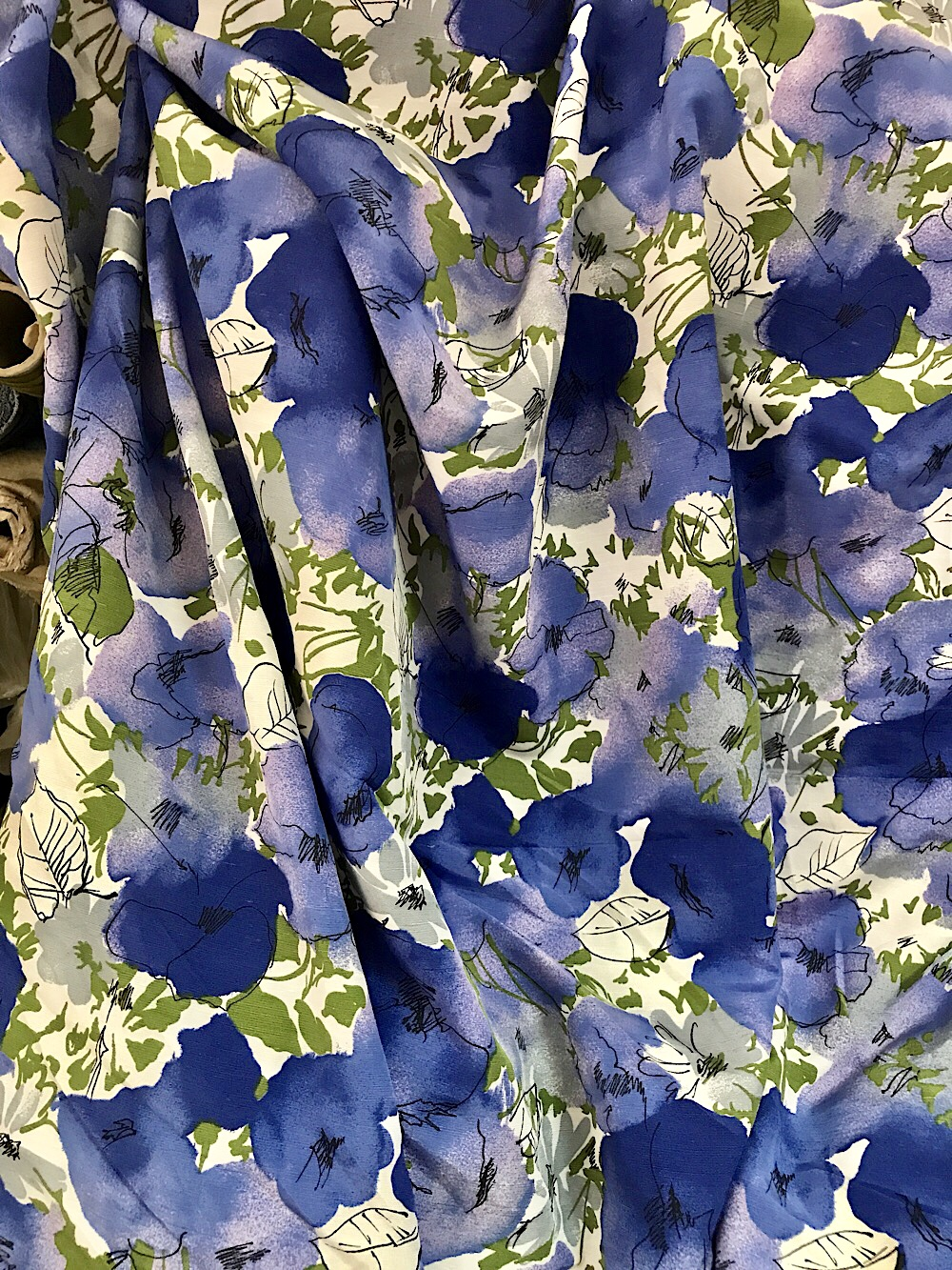Viscose Silk Print Fabric Shantung Blue On White Large Floral
