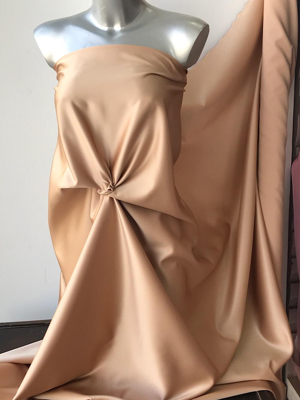 nude gold duchess satin fabric