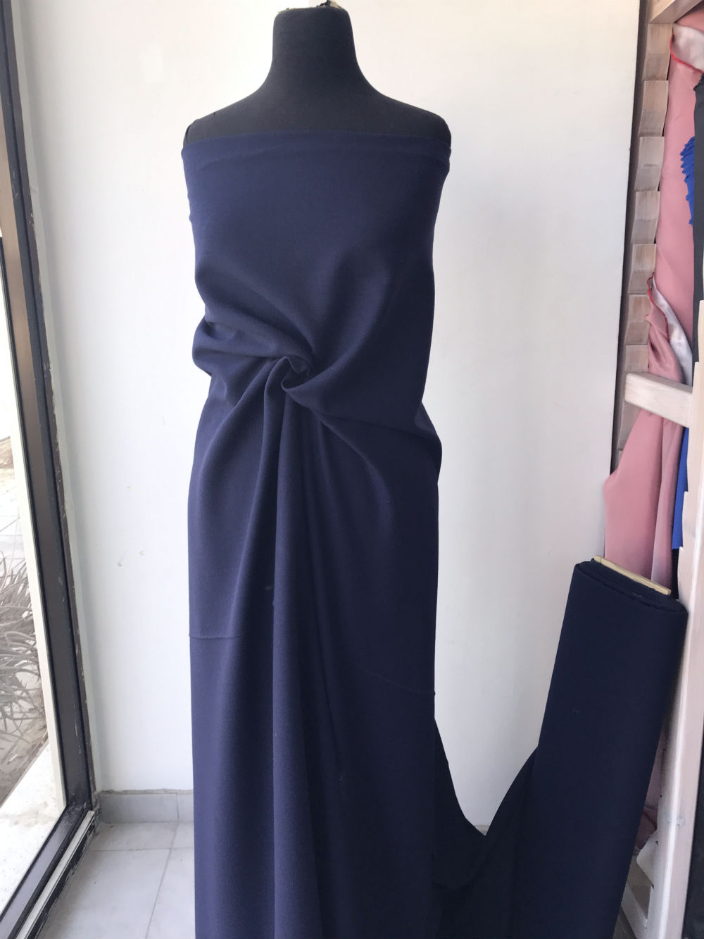 navy blue wool crepe