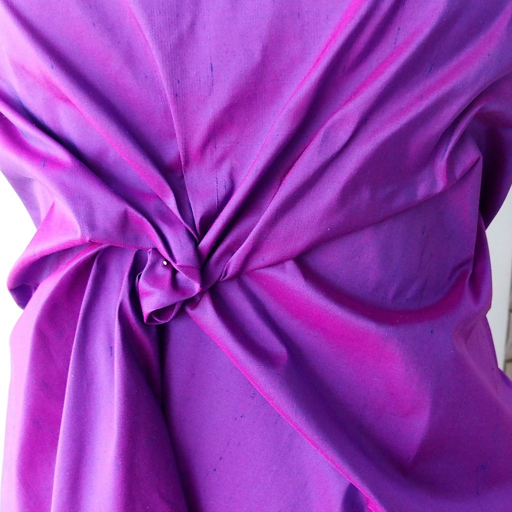 "Fuchsia Pink Cobalt Blue iridescent 100% dupioni silk fabric yardage By the Yard 54"" wide raw silk Soie Sauvage lilac purple"