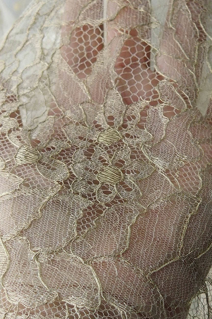 Gold bridal lace fabric, metallic French Lace, Solstiss wedding dress veil evening gown formal prom red carpet dress Burlesque, 160 cm wide