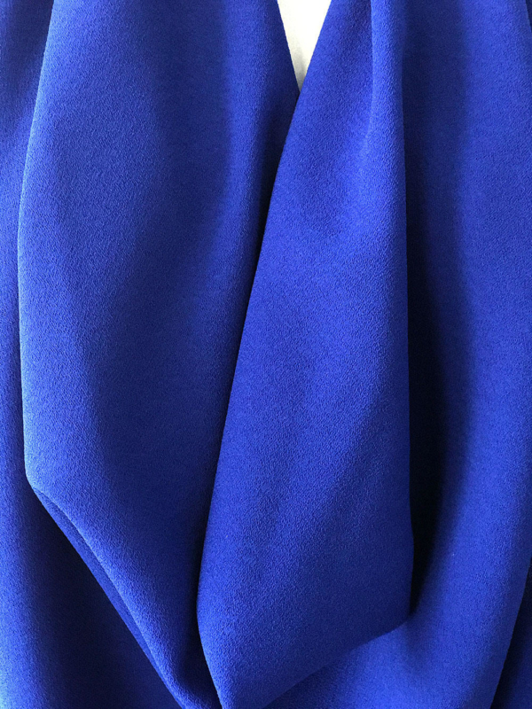 Cobalt blue stretch crepe fabric 2 way stretch pebble crepe textured polyester spandex 150cm 60 inches