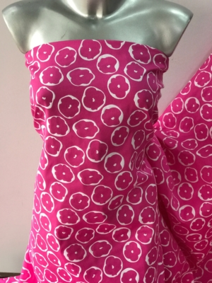 pink on white cotton jacquard