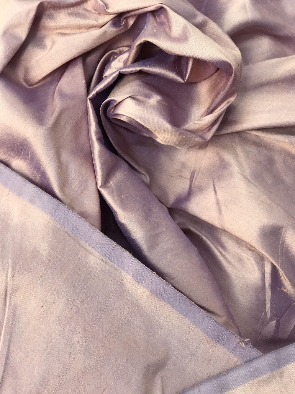 "Beige Purple skin tone iridescent 100% dupioni silk fabric yardage By the Yard 54"" wide raw silk Soie Sauvage"