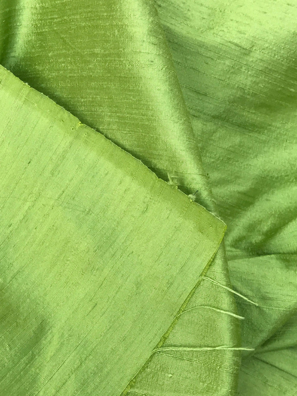"Green 100% dupioni silk fabric yardage By the Yard 54"" wide raw silk soie sauvage"