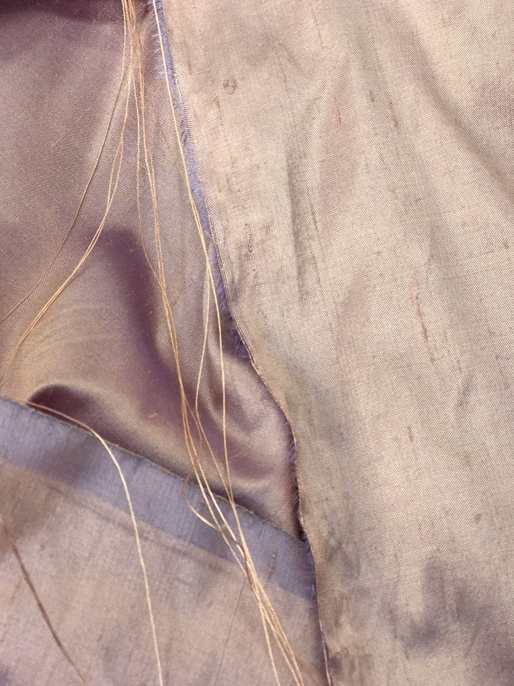 "Beige Purple skin tone iridescent 100% dupioni silk fabric yardage By the Yard 54"" wide raw silk Soie Sauvage"