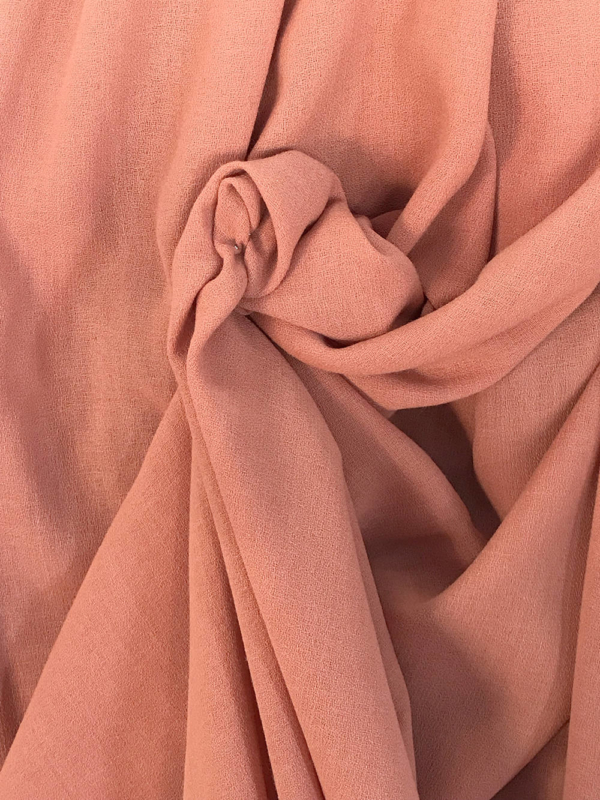 coral pink crepe fabric polyester wool made in UK skirt dress suit wool georgette pebble crepe