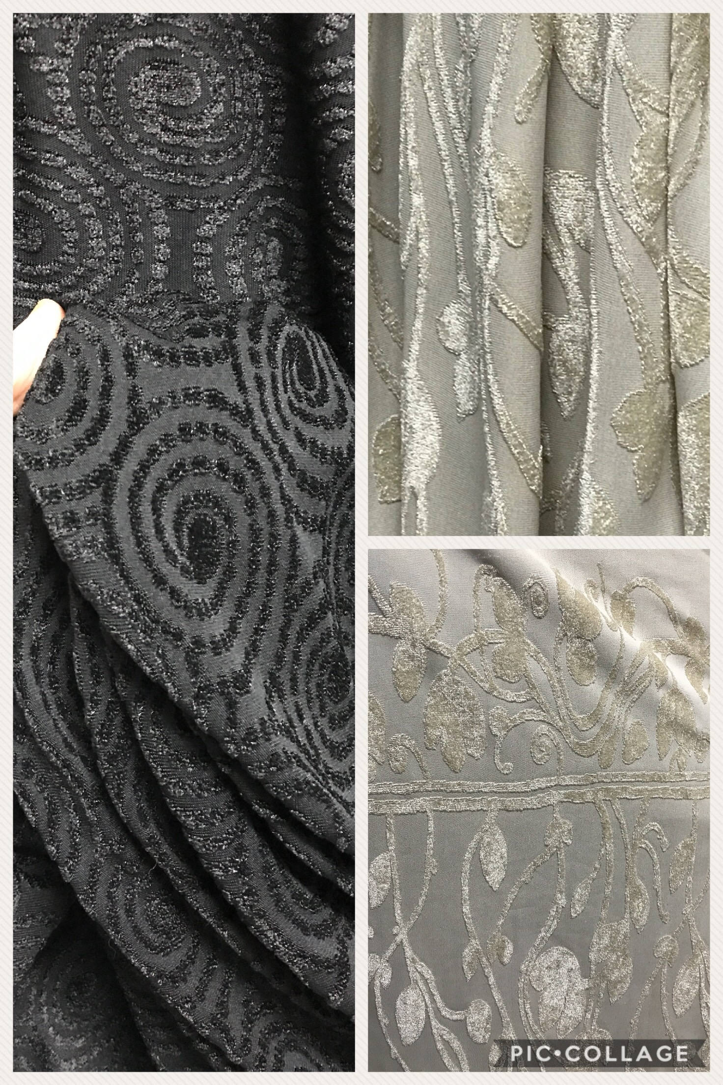 Knit fabric jersey flock velvet on jersey black beige