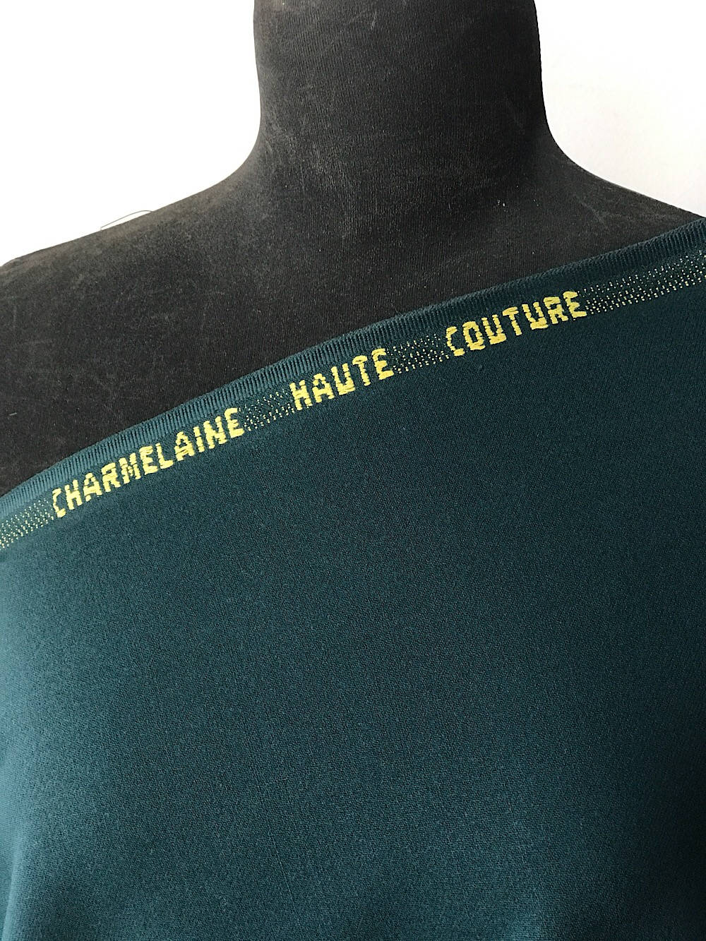 Green Wool venetian suiting fabric, sateen wool dark Forrest green bottle green Charmelaine