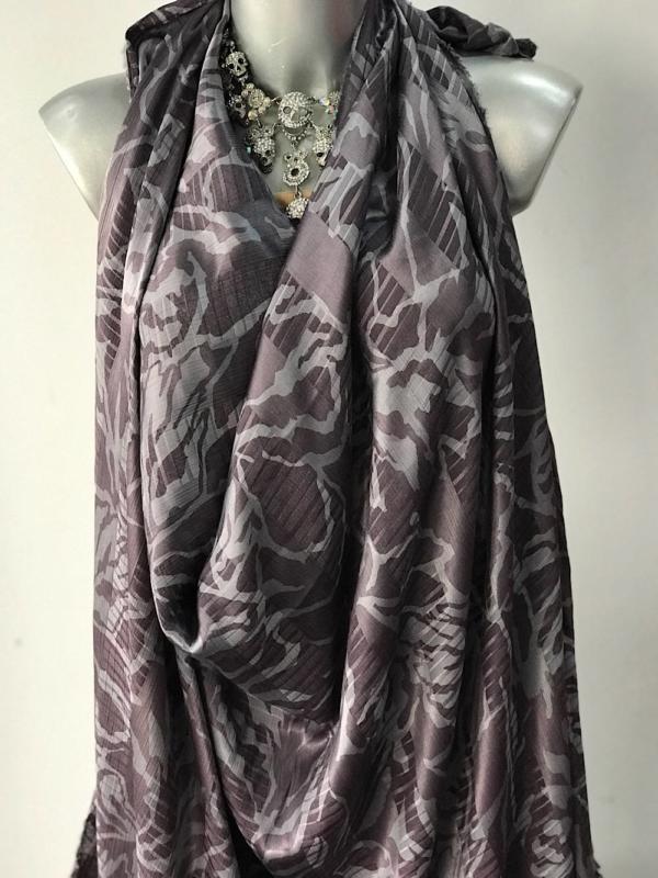 grey viscose jacquard fabric, silky finish, abstract print 140cm European production
