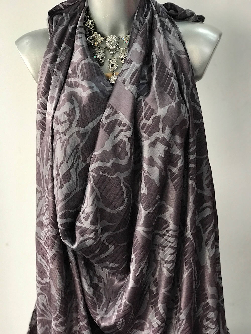 grey viscose jacquard fabric, silky finish, abstract print 140cm European production
