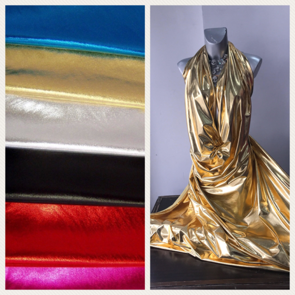 metallic elastane foil Lycra Spandex for dancewear latin ballroom rhythmic ice skating evening gold red black