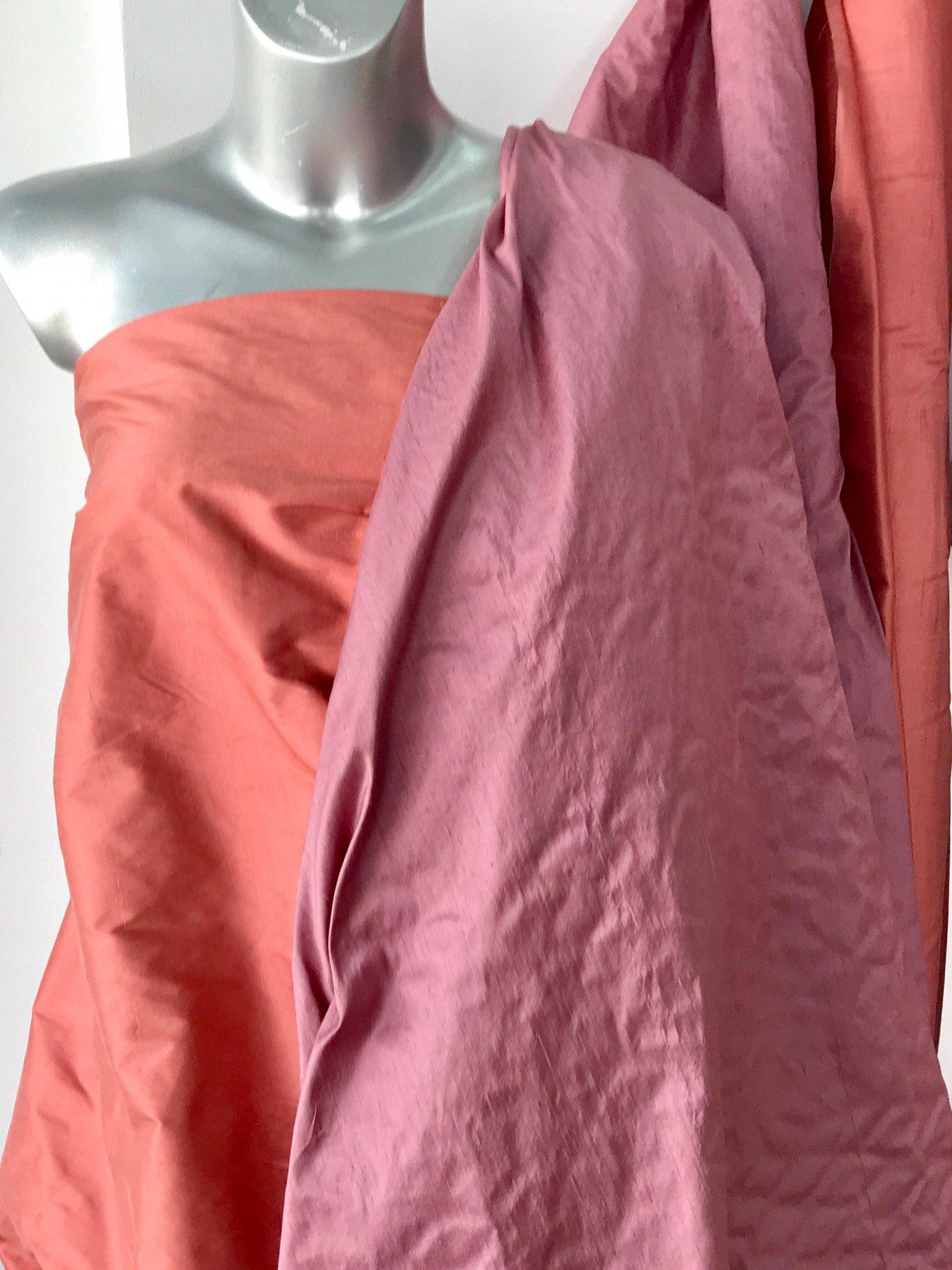 "Earth pink Dusky pink 100% dupioni silk fabric yardage By the Yard 120cm 45"" wide raw silk Soie Sauvage"