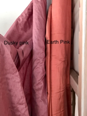 "Earth pink Dusky pink 100% dupioni silk fabric yardage By the Yard 120cm 45"" wide raw silk Soie Sauvage"