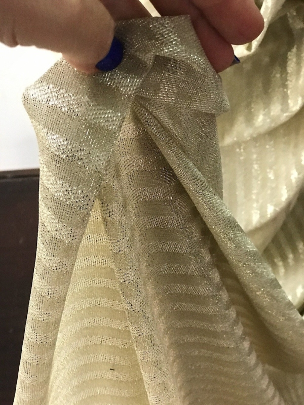 Gold metallic thread striped knitted jersey fabric 150cm wide 2 way stretch bridal clothing Festive season Christmas decotation