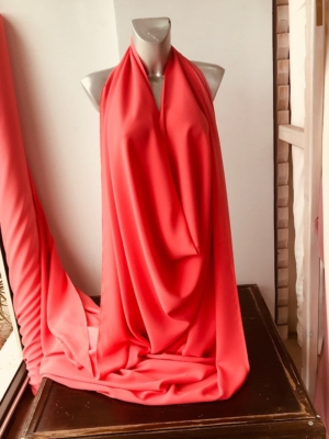 Coral Red stretch crepe fabric,  2 way stretch pebble crepe textured polyester spandex 150cm 60 inches