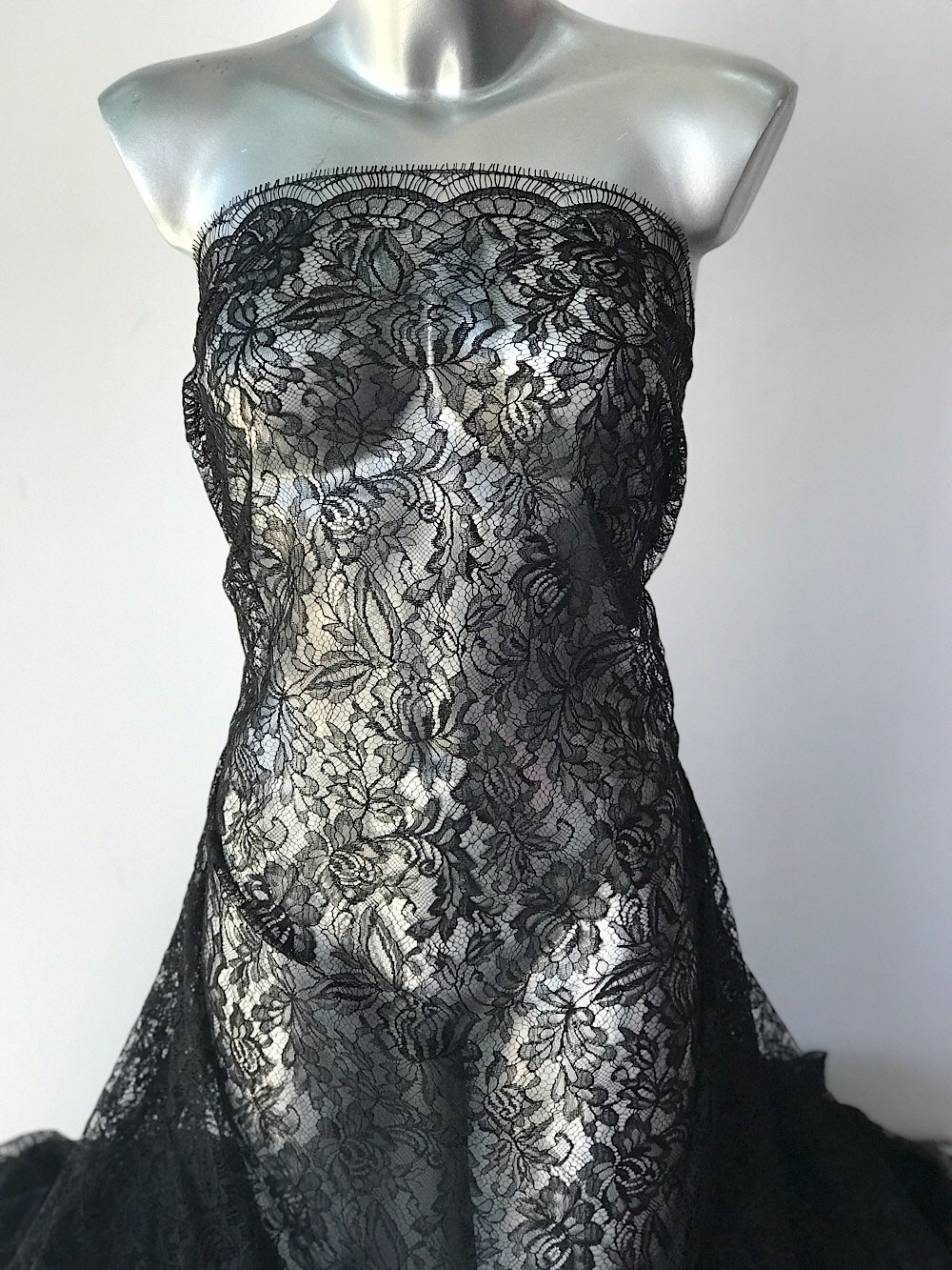 Black lace fabric, French lace Solstiss floral lace scallop edge with eyelash cocktail dress Burlesque, Goth wedding 95cm wide