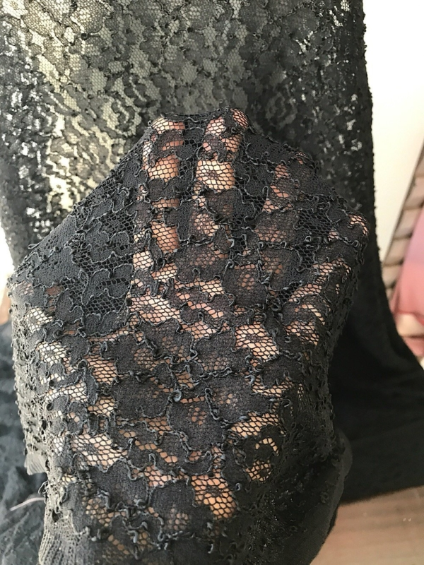 Black floral corded stretch lace fabric Lycra spandex lace corded lace 150 cm wide