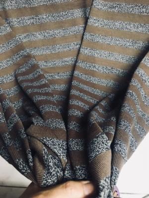 Jersey knit stripe fabric knitted stripe fabric teal grey melange brown grey melange