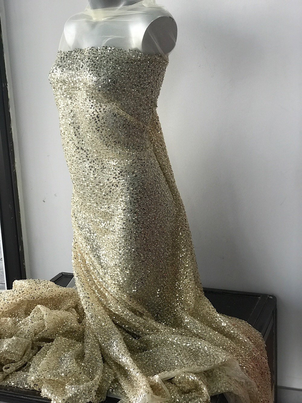 Gold sequins bridal lace fabric, shiny sequins paiettes on soft white tulle, wedding dress veil trail bustle