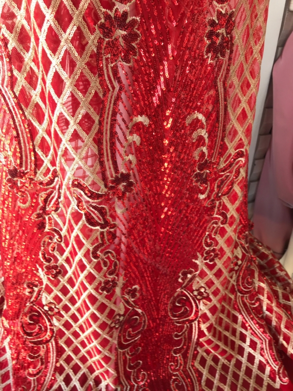 Gold on red blue sequins lace fabric Baroque design evening dress bridal