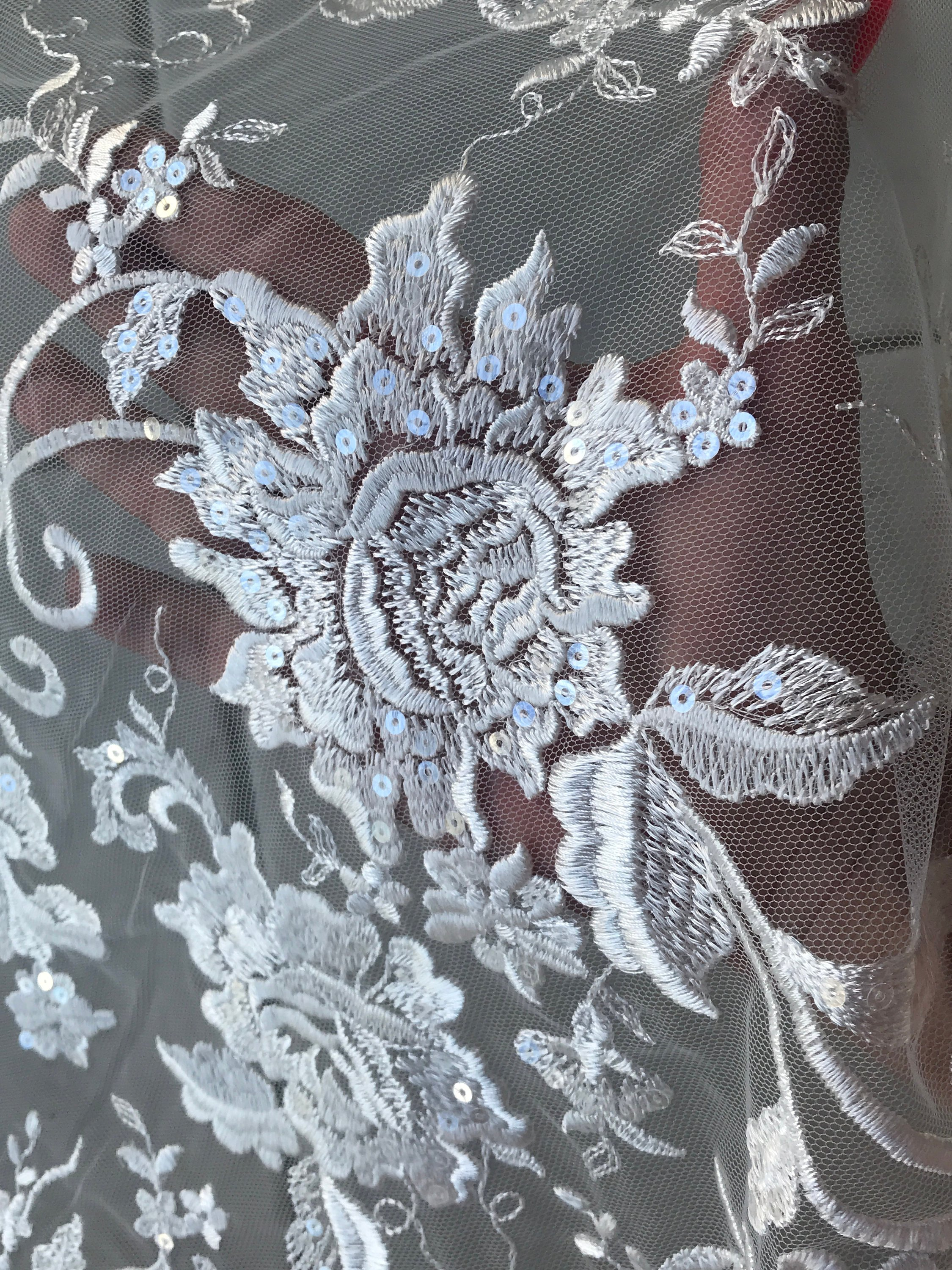 Off White Light Ivory bridal lace fabric corded with sequins floral  wedding dress lace