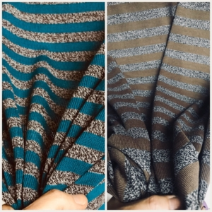Jersey knit stripe fabric knitted stripe fabric teal grey melange brown grey melange