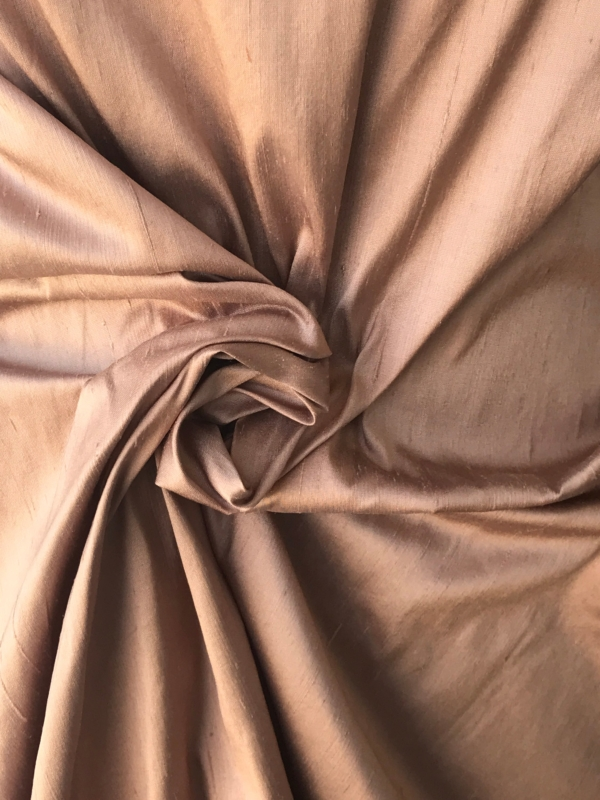 "Light brown taupe 100% dupioni silk fabric yardage By the Yard 54"" wide raw silk Soie Sauvage"