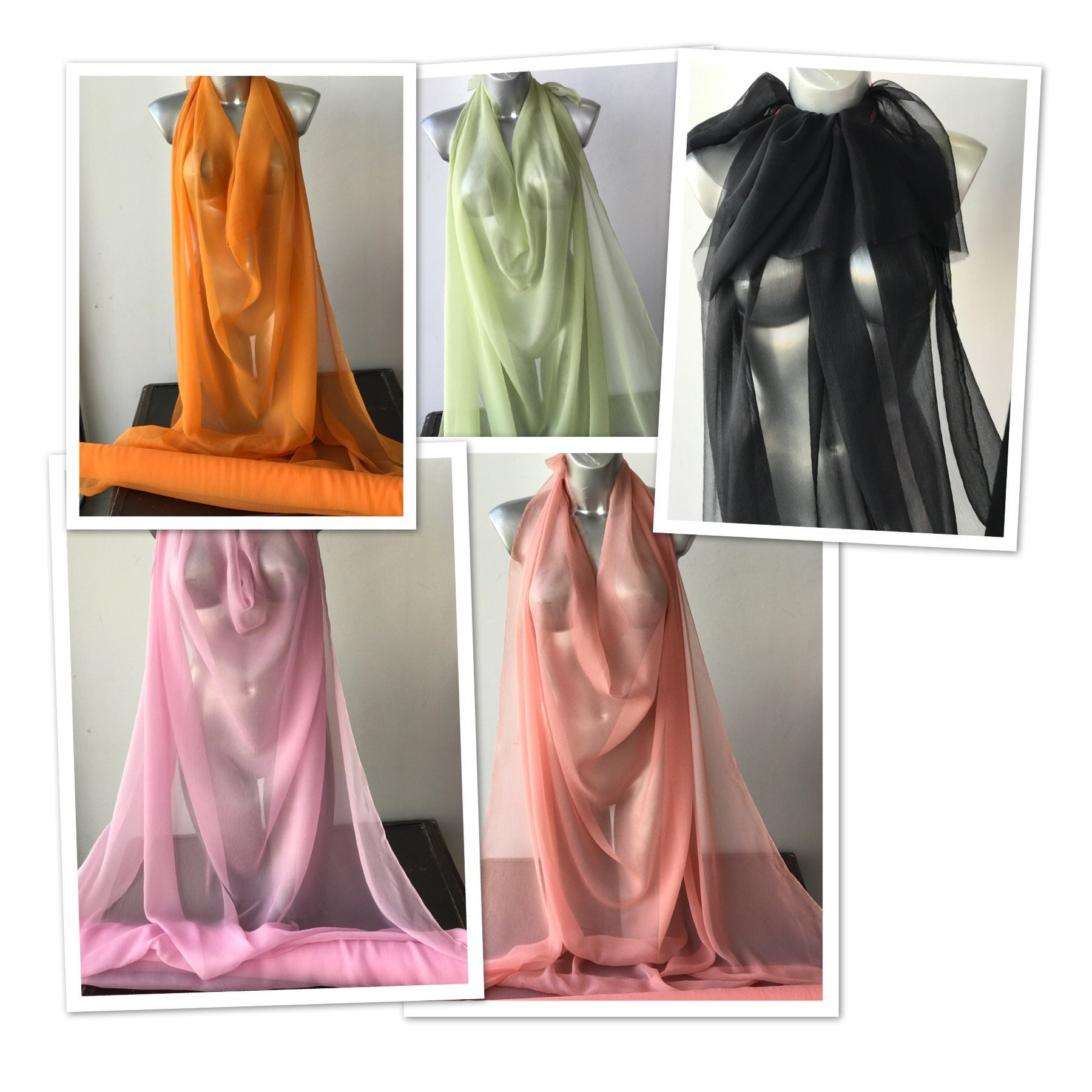 Crinkled Silk chiffon fabric orange pink salmon green black semi opaque 120cm wide