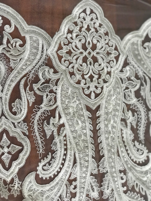 Off White Light Ivory corded bridal lace fabric with clear sequins embroidered Baroque design scallop edge wedding dress lace fabric