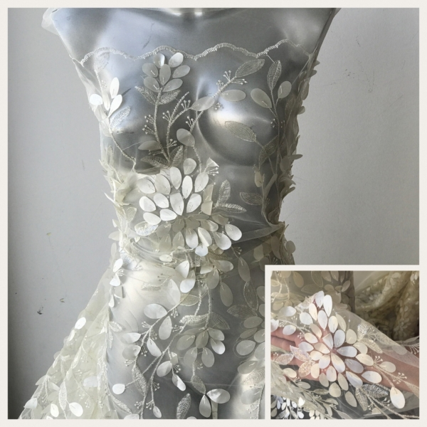 ivory lace fabric embroidery 3D laser cut leaves flowers clear sequins formal evening prom bridal