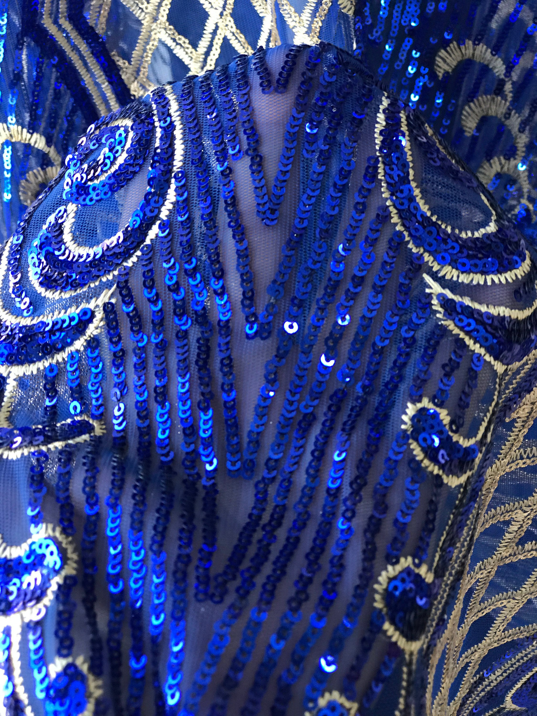 Gold on cobalt blue sequins lace fabric Baroque design evening dress bridal