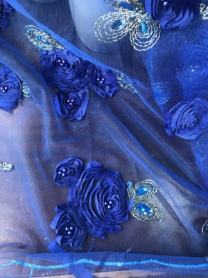 Blue lace fabric 3D roses flowers embroidered sequins pearls scallop edge formal evening prom bridal, cobalt blue