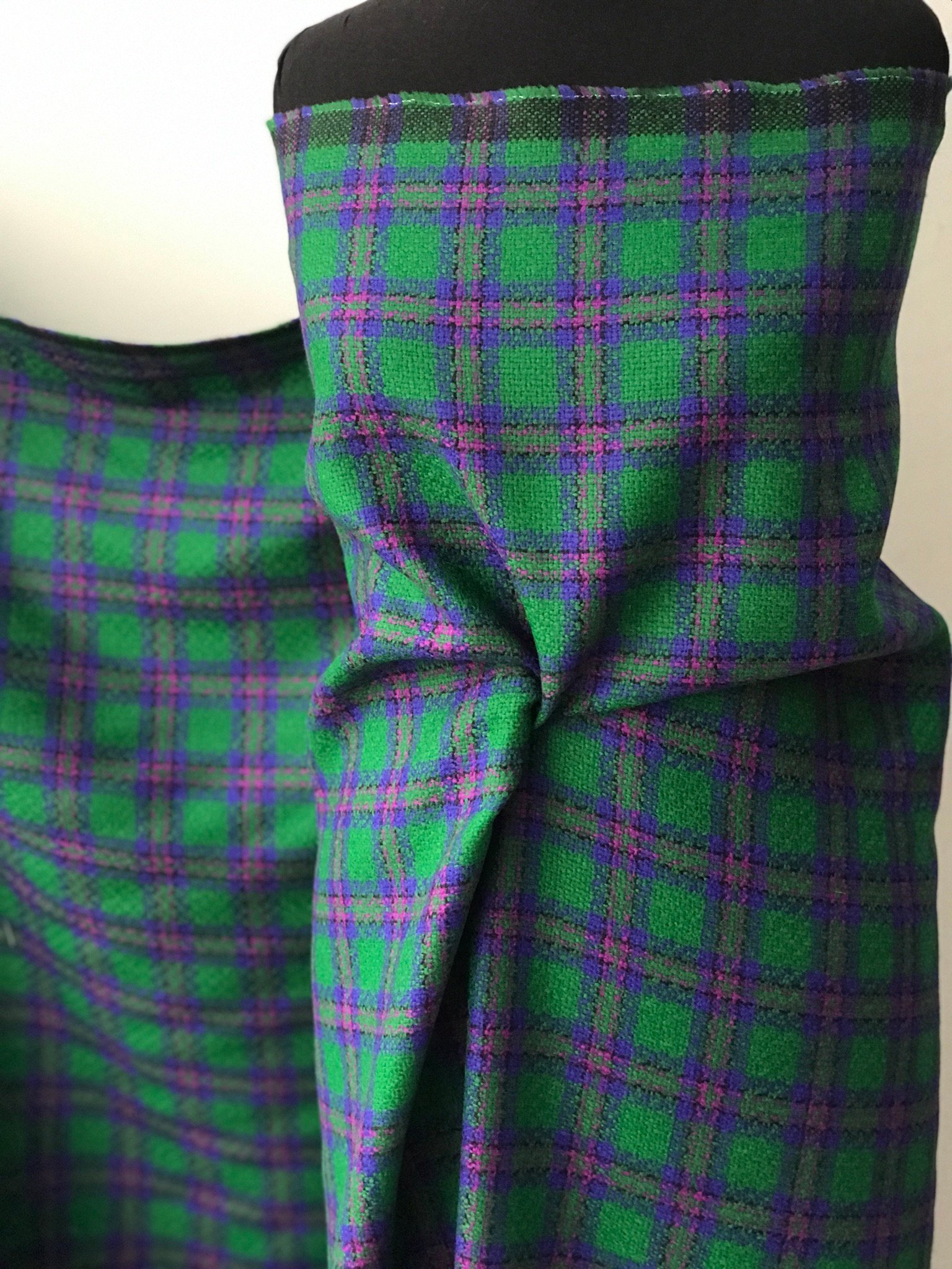 Green purple tartan check fabric