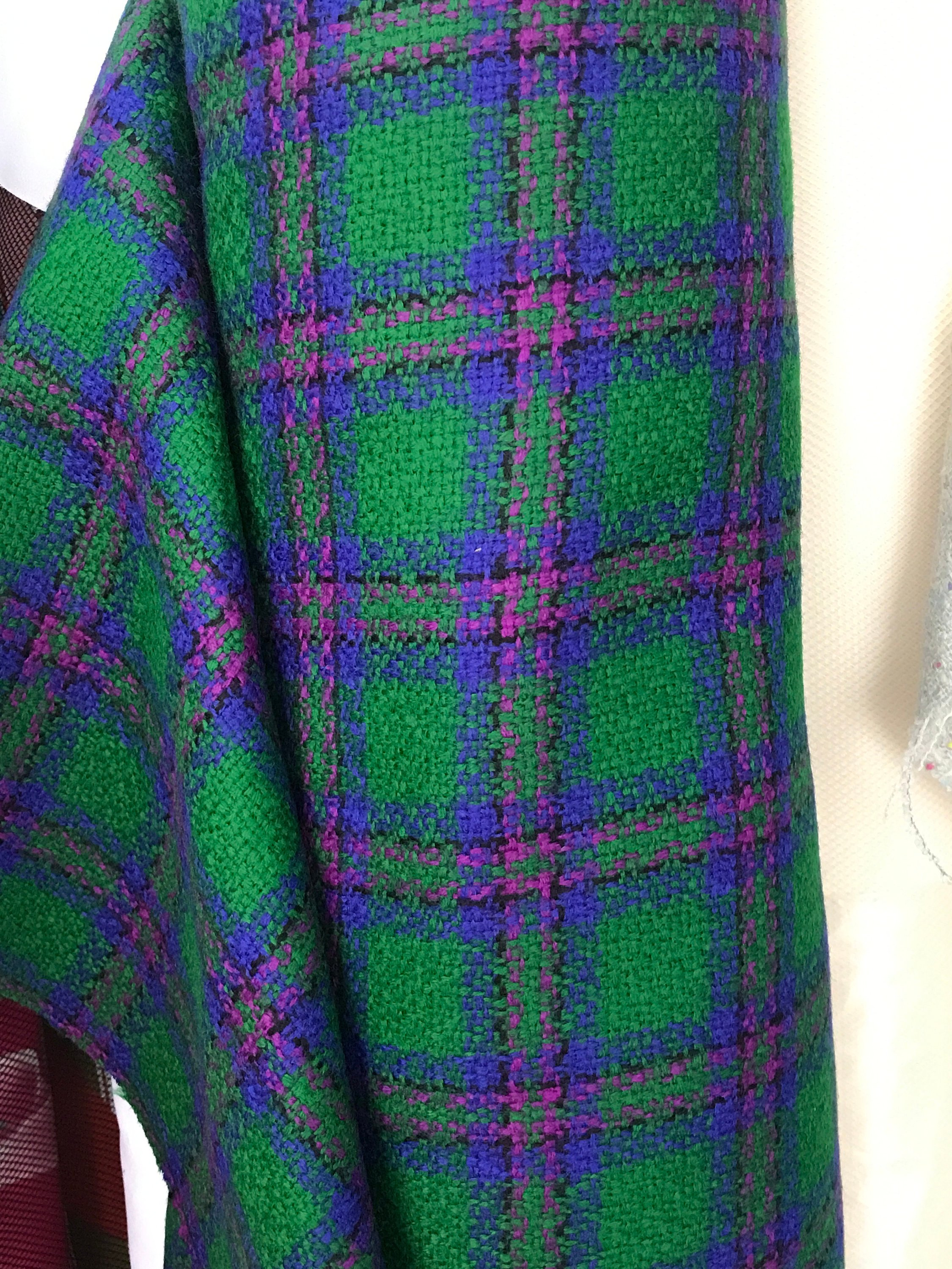 Green blue boucle check tartan fabric textured fancy wool fabric large check plaid pure wool high end suiting made in France 150cm wide
