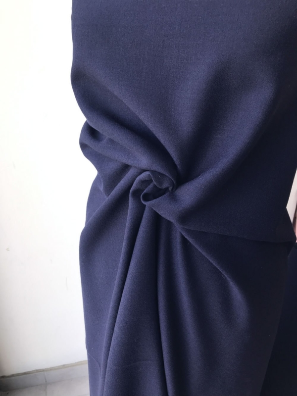 blue wool crepe fabric, dark navy blue, pebble crepe fabric made in UK skirt dress suit wool georgette